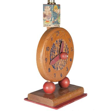 Custom Made Vintage Wood Nursery Clockface Lamp