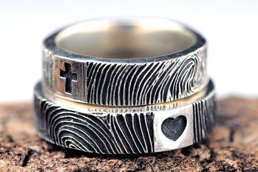 Custom Made Thin Fingerprint Wedding Engagement Personalized Bands