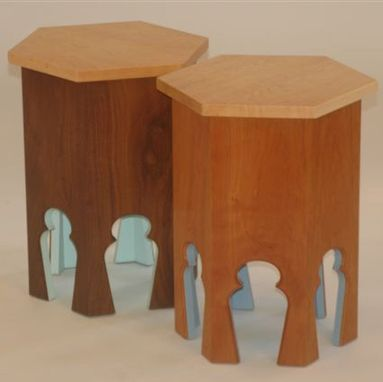 Custom Made Walnut And Mahogany End Tables With Birds Eye Maple Top