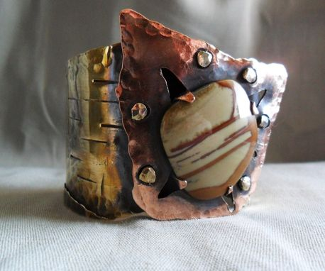 Custom Made Riveted Brass And Copper Sculptural Cuff With Owyhee Jasper
