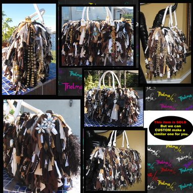Custom Made Ultra Fringe,Bows,Beads And Bling Handbag In Mulitable Shades Unique And One Of A Kind