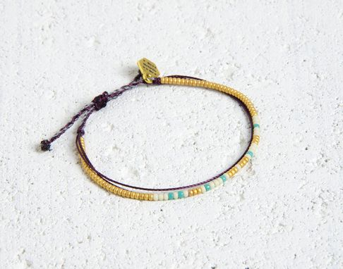 Custom Made Custom Morse Code Bracelet - Gold, White & Teal