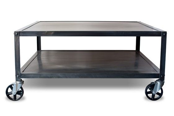 Modern Square Metal Coffee Table With Casters Rolling Coffee Table