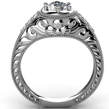 Custom Made Vintage Style Engagement Ring With Engraving