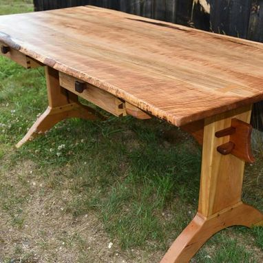 Custom Made Custom Figured Maple Trestle Desk W 2 Black Walnut Dovetailed Drawers