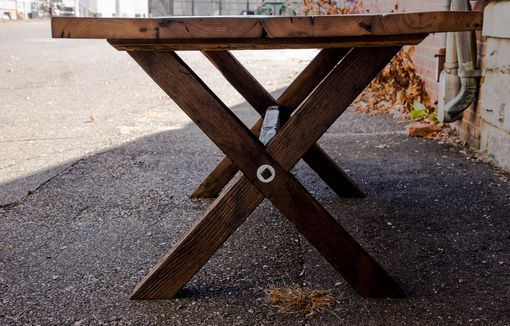 Custom Made Reclaimed American Chestnut Dining Table With Crossbuck Legs
