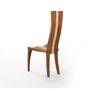 Custom Made Modern Wood Dining Chair In Cherry And Curly Maple, Carved Seat And Curved Back,
