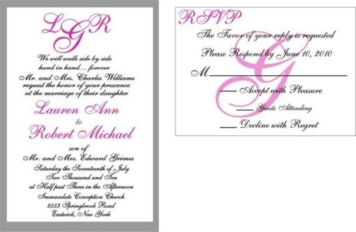 Custom Made 100 Beautiful Handrafted Pink Custom Monogram Wedding Invitation Suites