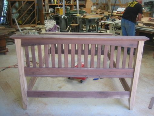 Custom Made Mission Style Black Walnut And Hickory Queen Size Bed
