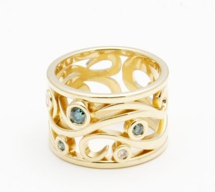 Custom Made Gold Vine-Inspired Ring With Blue And White Diamonds