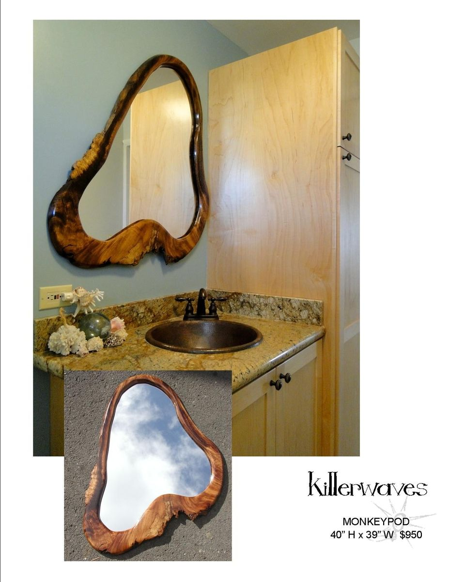 Bathroom Mirror Edge custom killerwaves, natural edge organic bathroom mirrorthe