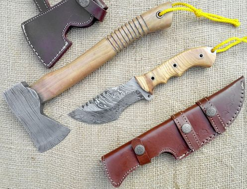 "Custom Made Custom Made Damascus Topsteel Survivor Set 10"" Tracker 12"" Axe Olive Wood"