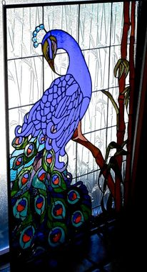 Custom Made Bamboo Peacock Stained Glass Window