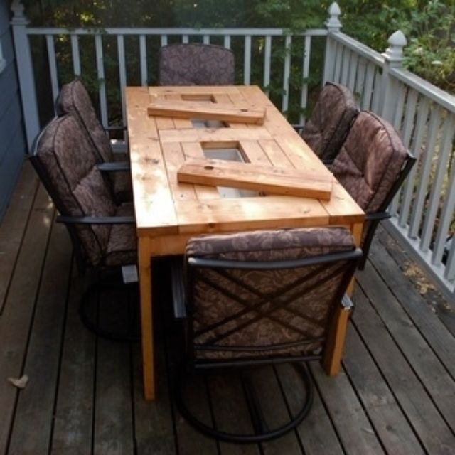 Custom Patio Table With Built In Cooler By Backyard Escape Furniture