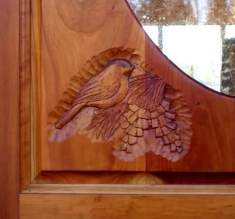 Custom Made Cherry Carved Entry Door With Chickadees