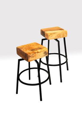 Custom Made Figured Maple Butcher Block And Metal Spinning Stools