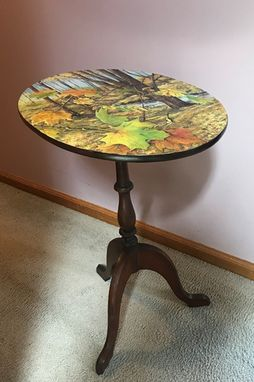 Custom Made Available Autumn On Vintage Tilt Top Table