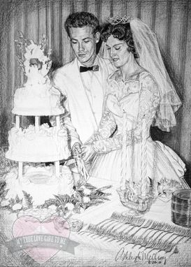 Custom Made Charcoal Portrait Drawing, 50th Wedding Anniversary 2010