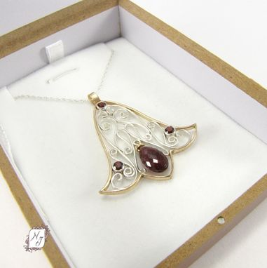 Custom Made Edwardian Tulip Pendant, Silver Gold And Garnet