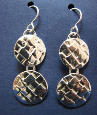 Custom Made Woven Sterling Silver Double Circle Drop Earrings From The Anasazi Collection
