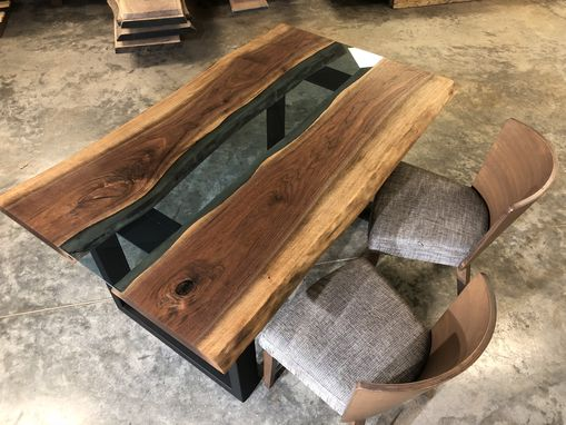 Custom Made Live Edge Walnut River Dining Table