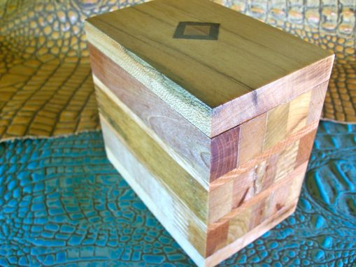 Custom Made Wooden Trinket Box With Diamond-Shaped Inlay