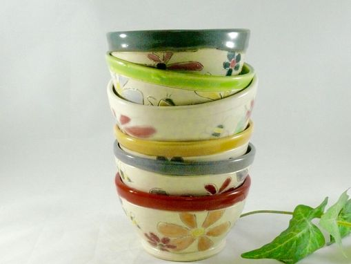 Custom Made Set Of Four: Handmade Ceramic Soup Bowl For Salad, Cereal Or Ice Cream