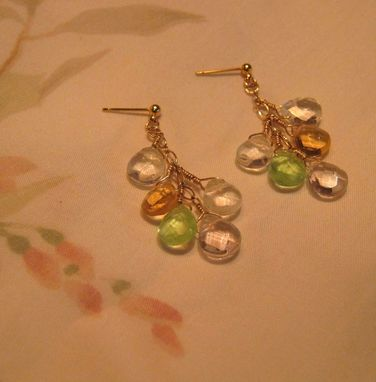 Custom Made Multi-Color Teardrop Gold Chandelier Earrings