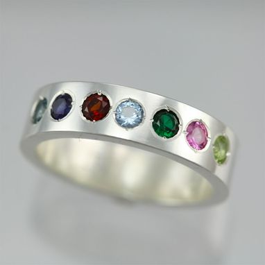 Custom Made 7 Stone Mother Ring In Sterling Silver