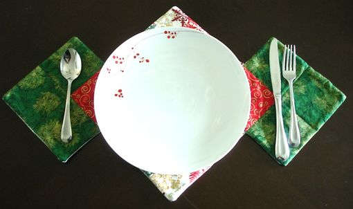 Custom Made Red And Green Placemat / Small Runner
