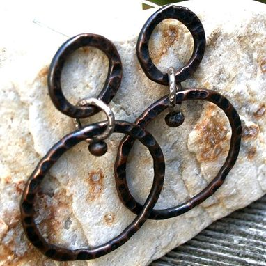 Custom Made Copper Hoop Earrings With Tribal Design