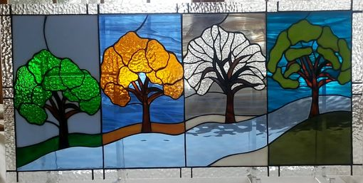 Handmade Four Seasons Stained Glass Transom By Windflower