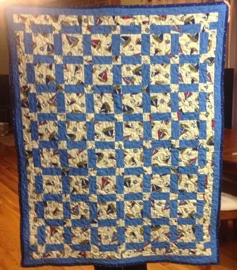 Custom Made Beautiful Nautical Themed Blocked Quilt For Baby Boy