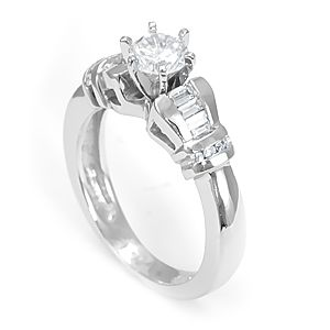 Custom Made Baguette Diamond Engagement Ring In 14k White Gold, Diamond Proposal Ring