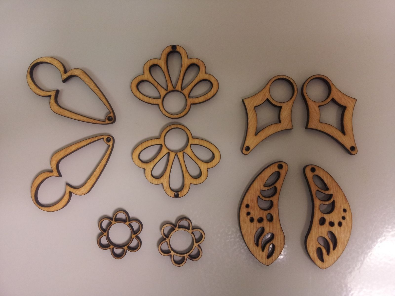 Handmade Laser Cut And Etched Wooden Earrings By Just
