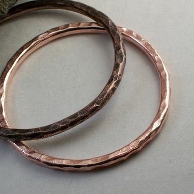 "Custom Made 7-Gauge Copper Bangle ""Oak''"
