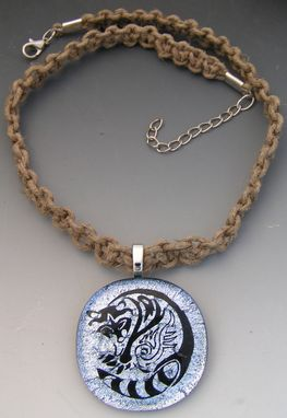 Custom Made Glass Raccoon Pendant With Hemp Necklace