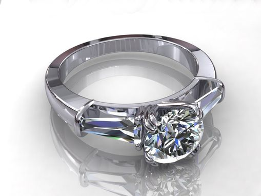 Custom Made Timeless Round And Taperred Baguette Engagement Ring