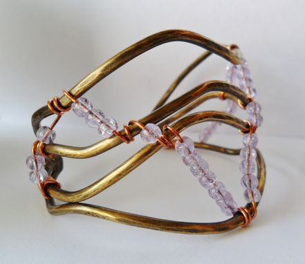 Custom Made Brass Wire And Lavender Glass Crackle Bead Womens Bracelet