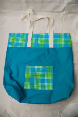 Custom Made Blue And Green Plaid Beach Tote
