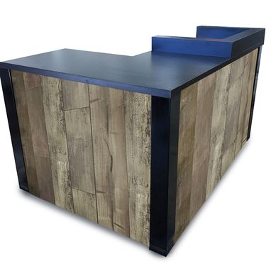 Custom Made #52 Dockside Distressed Laminate Wood  L Shaped Reception Desk Or Sales Counter