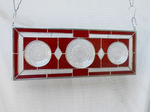 Custom Made Depression Glass Stained Glass Transom Window, 1930s Duncan Miller Plate Stained Glass Plate Panel