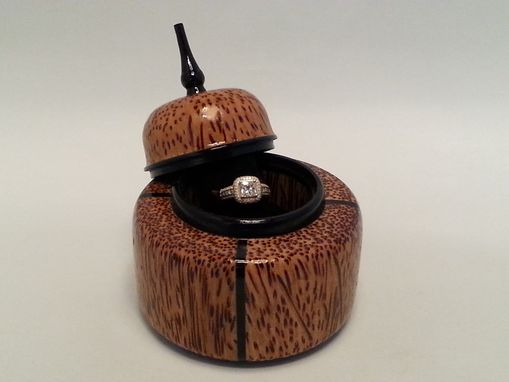 Custom Made Palm Wood And Gabon Ebony Single Ring Box Asian Influence