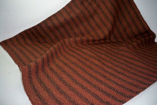 Custom Made Black Ticking With Pumpkin Brown Square Cloth Cotton Hand Woven 20 Inches
