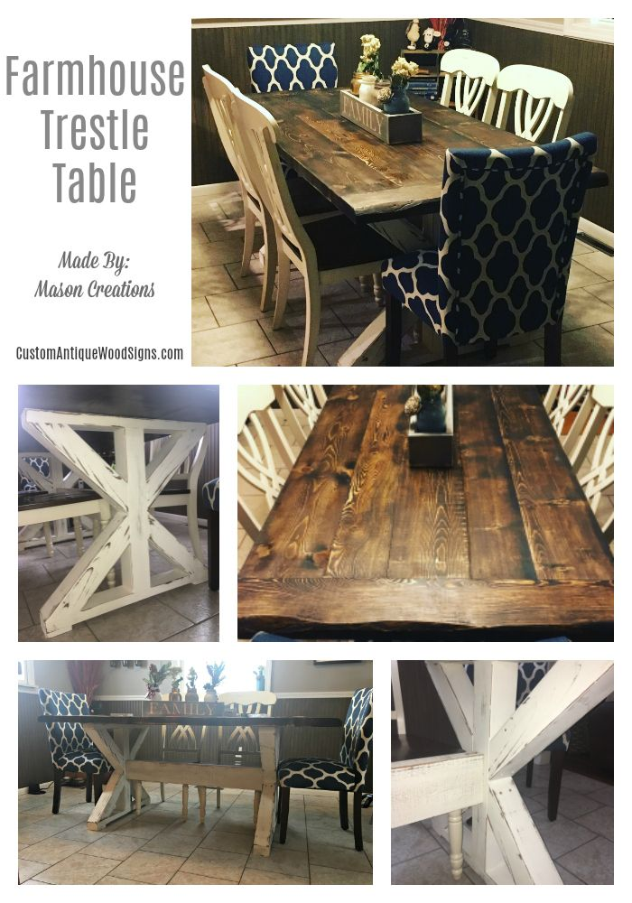 Hand Crafted Custom Trestle Farmhouse Dining Room Kitchen Table