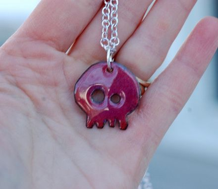 Custom Made Enamel Skull Pendant,Copper, Pink Purple, Enameled Jewelry - Baby Honeysuckle