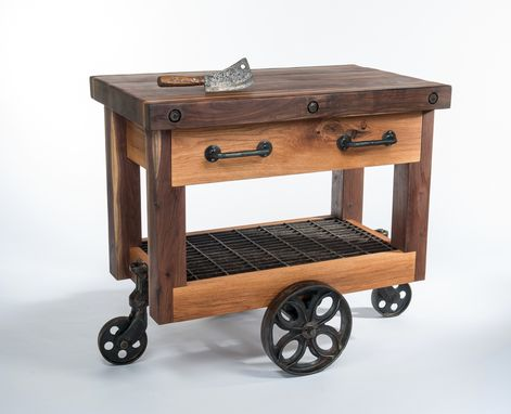 Custom Made Walnut And Oak Lineberry Factory Cart Butcher's Block Island