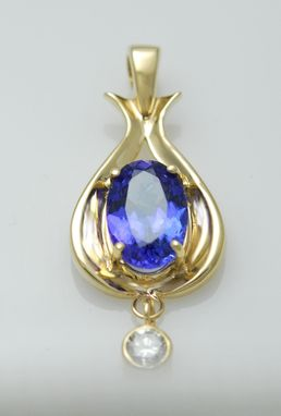 Custom Made 14kt Yellow Gold Tanzanite And Diamond Pendant