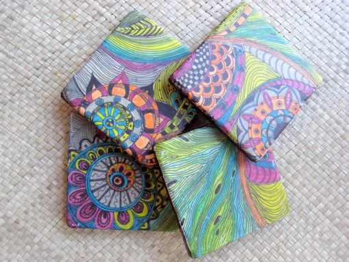 Custom Made Coasters Handmade Travertine With Original Artwork-Set Of 4 Orange Blue Green Pink