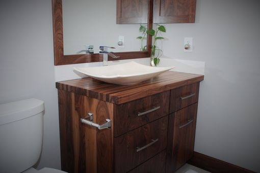 Custom Made All-Walnut Bathroom Vanity